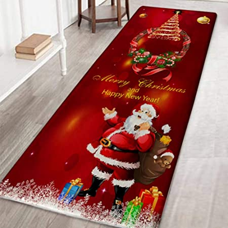Wolfgo Weihnachten WC-Dekor-Weihnachts Badezimmer WC-Sitzabdeckung Bodenmatte Wassertank Deckel und Gewebe-Kasten-Dekor-Abdeckungen Set
