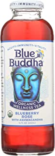 BLUBUD, Blue Buddha Organic Wellness Tea - Blueberry Rose with Ashwagandha - Case of 12-14 oz. - Pack of 12