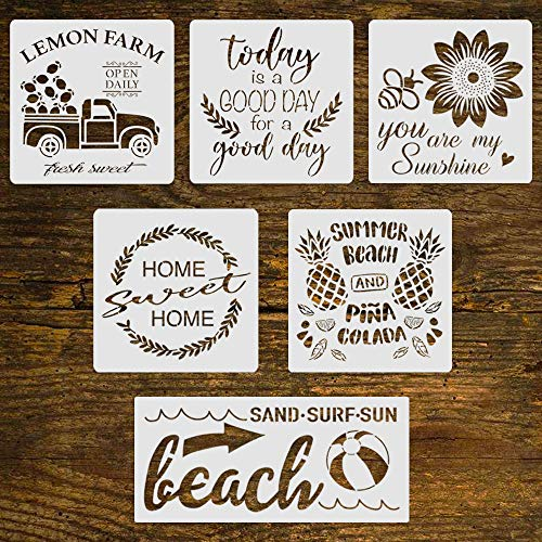 6pcs Reusable Summer Painting Stencil-Lemon/Sunflower/Beach/Pineapple/Today is a Good Day for a Good Day Stencil, DIY Your Own Farmhouse Project, Size(8x8 inch&12x5.5 inch)