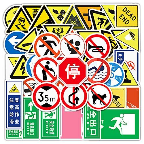 JZLMF 50 Segnali stradali Adesivi per Cartoni Animati Bagagli Valigia Valigia Auto Scooter Cellulare Adesivi Graffiti Impermeabili per Ragazzi e Ragazze