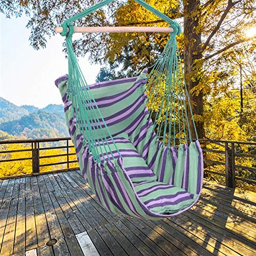 HONERENY Hanging Rope Hammock Chair Swing Seat for Any Indoor or Outdoor Spaces - 500 lbs Weight Capacity - 2 Seat Cushions Included (Green Strip)