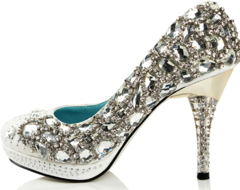 Naly Women's Sarah Bling Bridal Bridesmaid shoes Evening Round Toe Pump