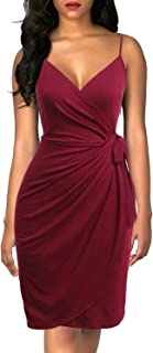Women's Classic Cocktail Party Dress V-Neck Spaghetti Strap Sheath Belted Knee-Length Faux Black Wrap Dress