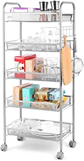 Cozzine 5-Tier Metal Mesh Rolling Cart, Kitchen Rolling Utility Cart Trolley Storage Cart with Lockable Wheels, Wire Basket Shelf Trolley with 5 Side Hooks for Home Kitchen Office Bathroom, Sliver