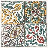 Lot de 4 Carreaux de Cuisine en céramique Motif Floral Multicolore 15 x 15 cm