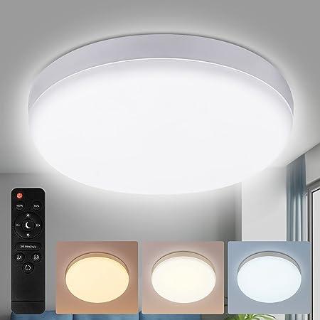 36W Plafonnier LED, Lampe de Plafond Dimmable avec Télécommande, Rond Lampe Plafonnier avec 3 Température de couleur réglable, 3000K/4500K/6500K, Éclairage de Plafond Étanche IP54 Plafonnier