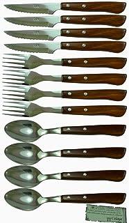 Juego Cuchillos, Tenedores Chuleteros y Cucharas Madera Celaya Lote 12 Uds.