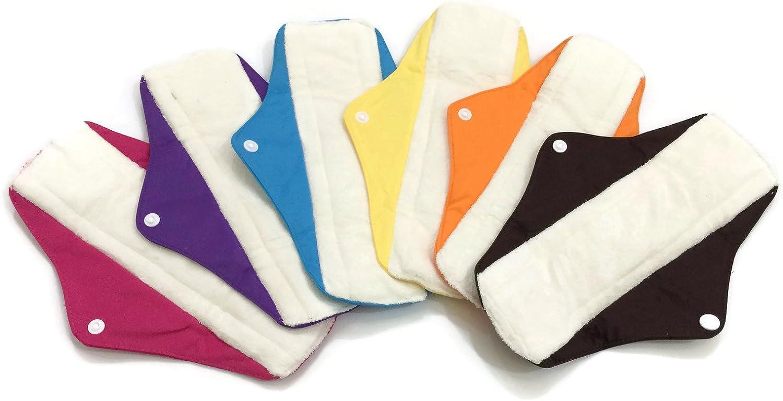 6 Maxi Bamboo Mama Cloths/Menstrual Sanitary Pads/Panty (Maxi, M