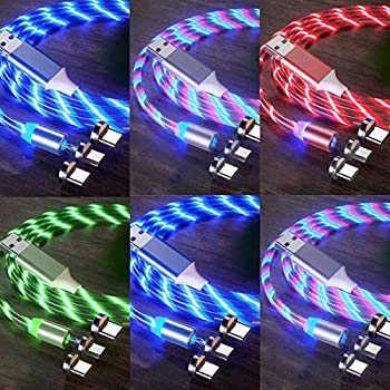 LED Flowing Magnetic Charger Cable 6Pack,6ft,6ft,3ft,3ft,3ft,3ft 3in1 Light Up Moving Party Phone Charging Cable Compatible with Android Micro USB Type C Smartphone Device