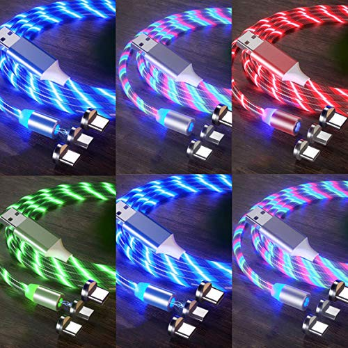 LED Flowing Magnetic Charger Cable(6Pack,6ft,6ft,3ft,3ft,3ft,3ft)3in1 Light Up Moving Party Phone Charging Cable Compatible with Android Micro USB, Type C Smartphone iProduct Device