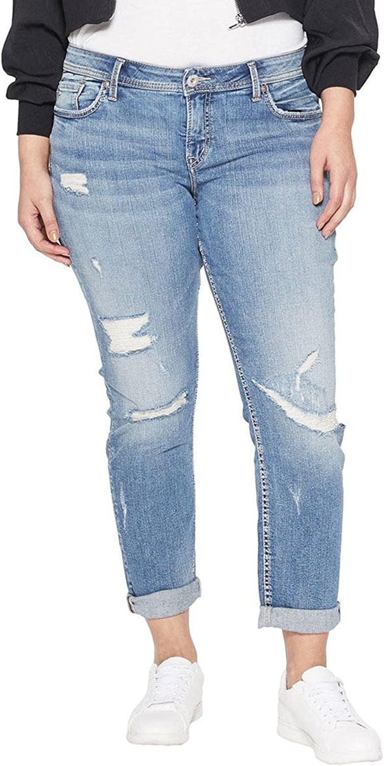 Silver Jeans Co. Womens Plus Size Suki Curvy Fit Mid Rise Ankle Slim Jeans Casual Pants