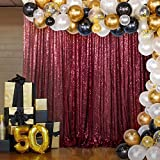 DUOBAO Burgundy Sequin Backdrop Curtain 7FTx7FT BackdropsforPhotography SequinCurtain Wedding Party Background Fabric Backdrop Glitter Backgrounds Great Gatsby Party Decoration (7FTx7FT, Burgundy)