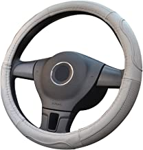 YIFOOPLI Steering Wheel Cover Anti-slip Cowhide Steering Cover Excellent Feeling Of Grip Excellent Stylish Carbon Style (Color : Gray, Size : L)