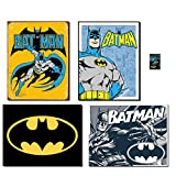 """Tin Sign (reproductions) Bundle Includes: Batman Retro - 12.5""""W x 16""""H, Batman Retro Panels - 12.5""""W x 16""""H Batman Logo - 16""""W x 12.5""""H, Batman Duotone - 16""""W x 12.5""""H Batman Dark Knight Magnet - 2in. x 3in."""