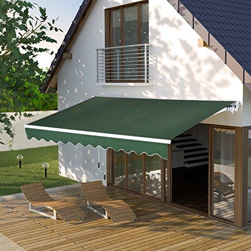 Outsunny Toldo para Patio Balcón Terraza y Jardín con Brazo articulado de Aluminio y Tela de Poliéster de 280g/m2 395x245 cm (Verde)