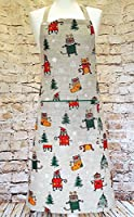 Hecho a mano Navidad gatos de lino de algodón Delantal - Handmade Christmas Cats Linen Cotton Apron