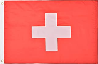 Green Grove Products Switzerland Flag 2` x 3` Ft 210D Nylon Premium Outdoor Embroidered Swiss Flag(Civil Ensign Rectangular Variant)