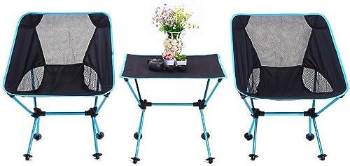 KSoutdoors 1 Set Chaise De Camping Pliante et Table, Chaise De Jardin Portable Chaise Pliante pour Randonnée Pédestre Randonnée Pique-Nique Pêche Parc Festival en Plein Air Plage