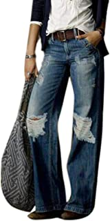 KEEPWO Womens Vintage High Waisted Flared Denim Jeans Baggy Ripped Wide Leg Jeans Pants