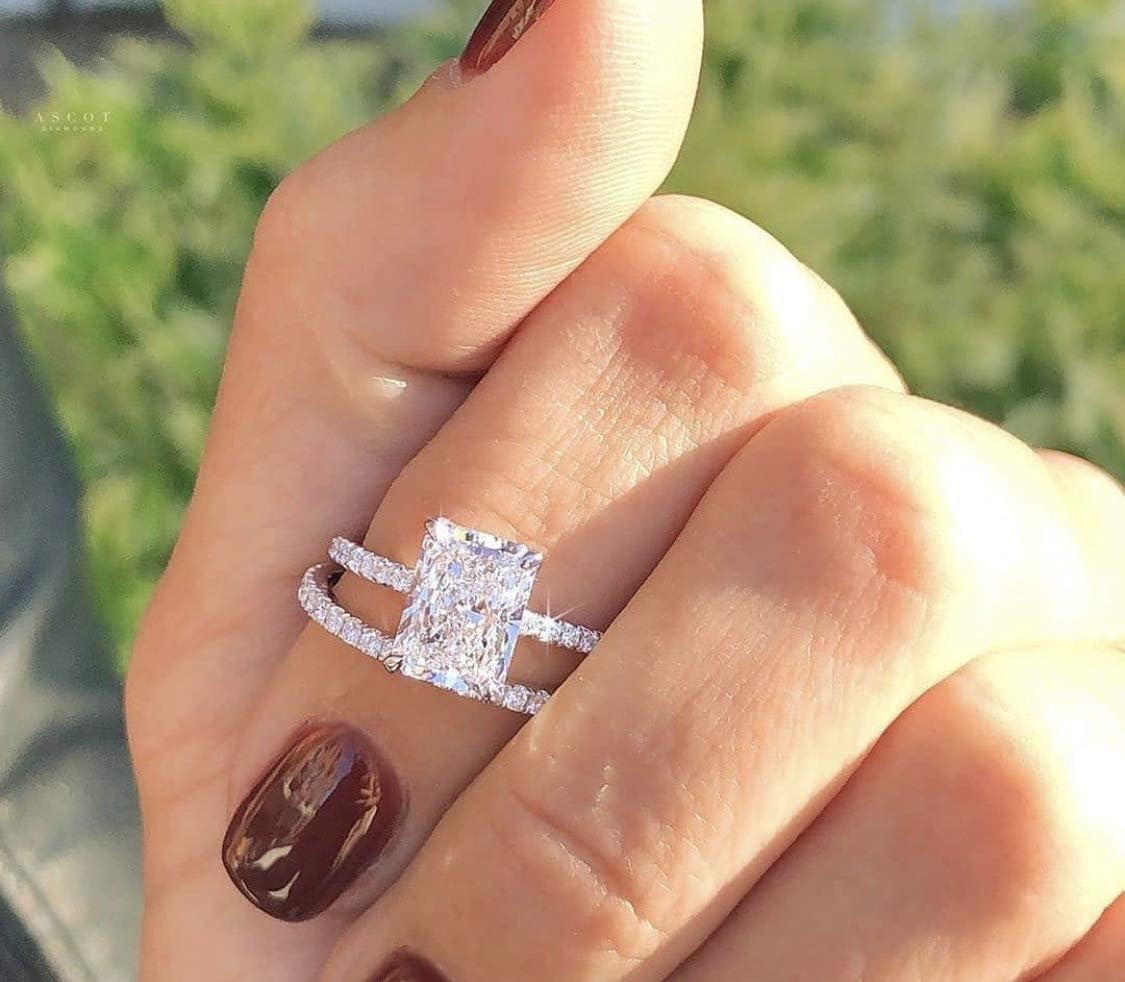 Rnydrny Princess Cushion Super special price Cut 4.0 Daimond Sale Special Price Femal Ring Analog Carat