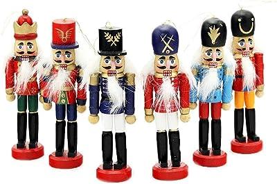 sunikoo 6 PCS Per Set Christmas Decorations Nutcrackers Wooden Soldier Puppet Anvor 12cm Wood Novelty Decorative Ornament Home Decor Gifts Presant Tree Pendant