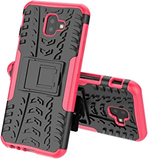 TenYll case For Samsung Galaxy J6 Plus, Shockproof Tough Heavy Duty Armour Back Case Cover Pouch With Stand Double Protective Cover Samsung Galaxy J6 Plus Case -Pink