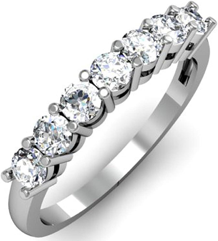 Dazzlingrock Collection 0.75 Carat (ctw) 14K Round White Diamond Ladies 7 Stone Bridal Wedding Anniversary Ring 3/4 CT, White Gold