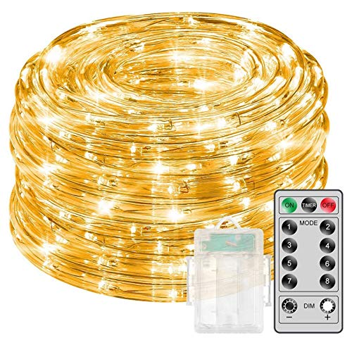 Govee Rope Lights with Remote Control, 33 Ft Led Rope Lights Warmwhite Waterproof 8 Modes Timer Battery Operated Outdoor String Lights for Wedding Party Garden Boat Landscape Lighting Outdoor Decor