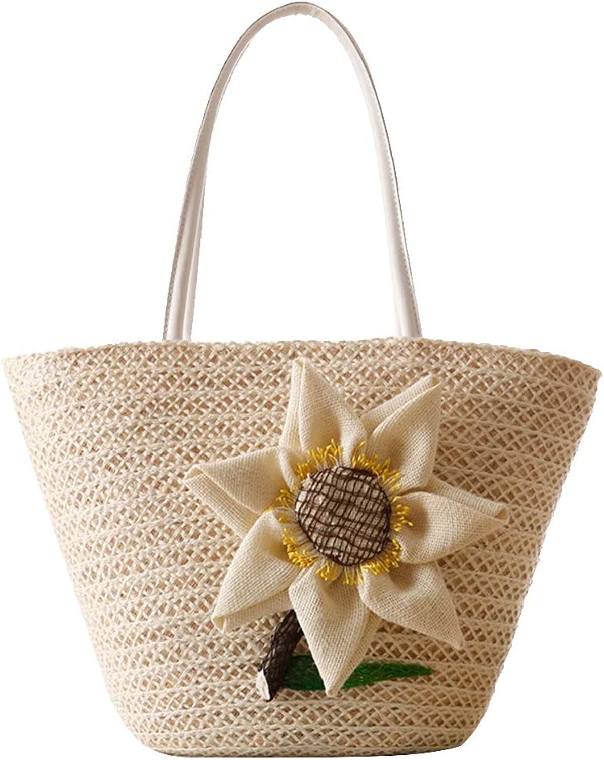 Bucolic Style Straw Woven Bag Flower Woven Shoulder Bag Beach Bag for Outdoor Travel (Beige)