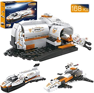 BRICK STORY Space Shuttle Building Blocks Set, Space Ship Building Bricks Pack, Space Construction Toys for Boys 6-12, 3 in 1 (168 Pcs)