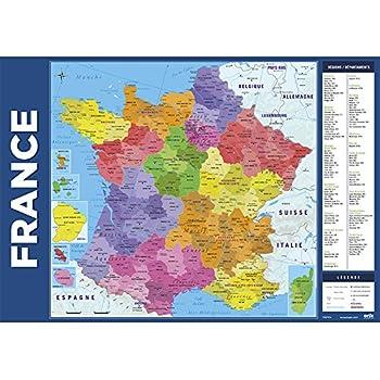 Erik® - Sous-Main Bureau Carte de France des Régions | Sous-Main Bureau Enfant | 34x49cm