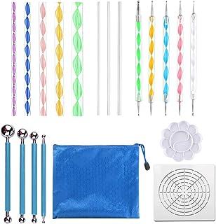 EWONICE 20PCS Mandala Dotting Tools Set Mandala Stencil Ball Stylus Paint Tray Pen Dotting Tools Kits for Clay Pottery Cra...