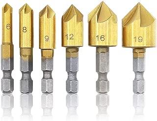 E·Durable 面取りカッター バリ取り ドリルビットセット 面取りビット ツールキット 六角軸 5枚刃 ドリルビット 電動ドリルセット 6本セット