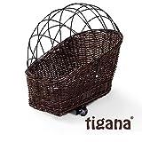 Tigana - Hundefahrradkorb für Gepäckträger aus Weide 56 x 36 cm mit Metallgitter Tierkorb Hinterradkorb Hundekorb für Fahrrad + Kissen in BRAUN