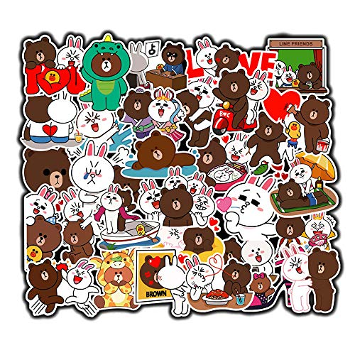 DOFE 100 PCS Brown Stickers,Cute Animal Vinyl Decals for Laptop, Laptop Stickers,Motorcycle Bicycle Luggage Decal Graffiti Patches for Teens (100 PCS Brown and Cony Stickers)