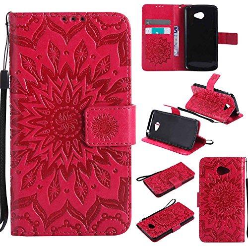 pinlu® PU Leder Tasche Etui Schutzhülle für LG K5 Lederhülle Schale Flip Cover Tasche mit Standfunktion Sonnenblume Muster Hülle (Rot)