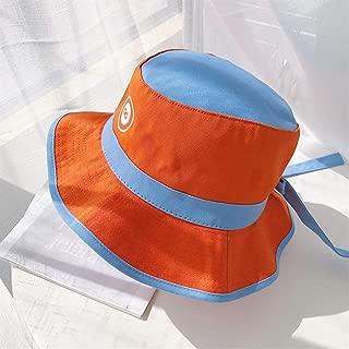 ZiWen Lu Korean Tidal Summer hat Female Embroidery Folding Sun Visor hat UV Sun hat Fisherman hat Japanese (Color : Orange, Size : One Size)