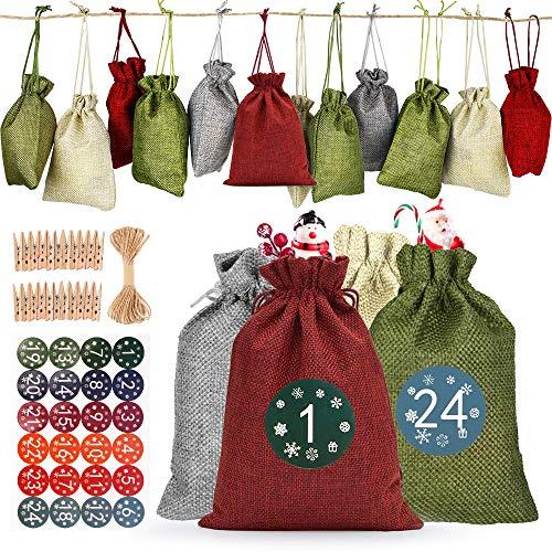 GeeRic Bolsa de regalo de navidad,24 PCS Calendario de Adviento Bolsa de Regalo Navidad Decoración Navideña para el Hogar Rojo verde gris beige