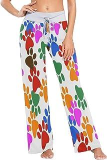 Color Verde Naranja Perro Estampado De La Pata De Las Mujeres Pijama Lounge Pantalones Casual Stretch Pantalones Ancho De La Pierna