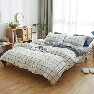 DOUH Jersey Knit Cotton Duvet Cover Set King Size Grey White Duvet Cover 3 Piece Bedding Sets (1 Duvet Cover, 2 Pillow Shams), Simple Grid Pattern Design, Ultra Soft and Easy Care