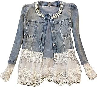 Damen Individuelle Perlen Spitze Nähen war Dünn Jeansjacke Mantel Outwear Kurz Denim Jacke Spitzenbolero Tops