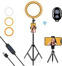 "LED Ring Light 10"" with Tripod Stand & Phone Holder for YouTube Video, Desk Selfie Ring Light Dimmable for Streaming, Makeup, Photography Compatible with iPhone Android"