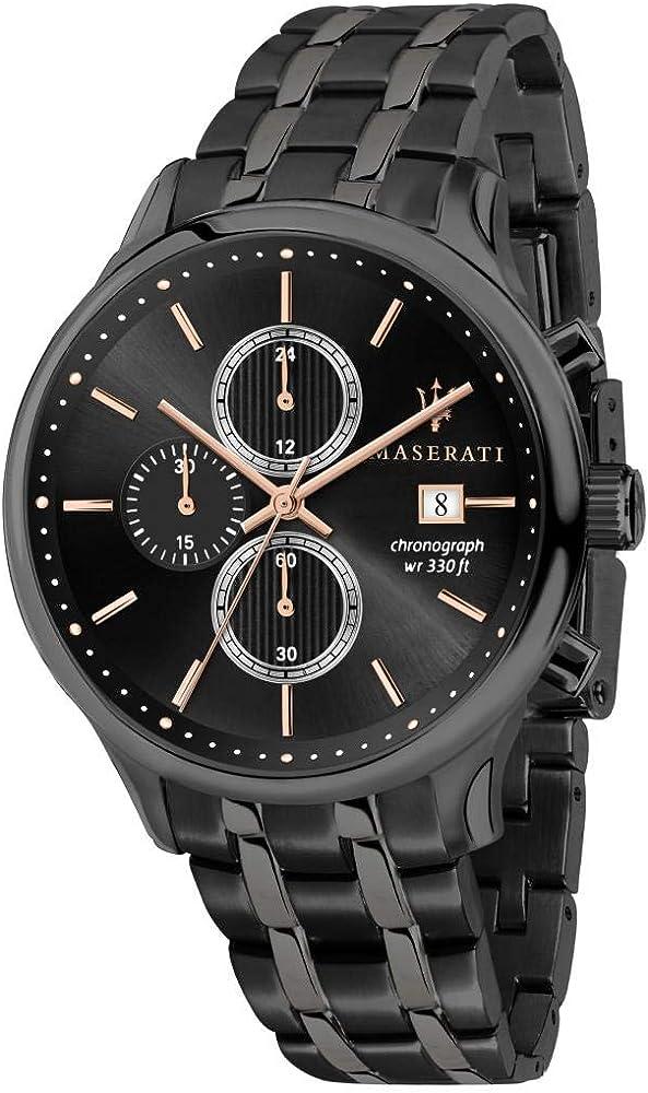 Maserati orologio cronografo  da uomo, collezione gentleman in acciaio e pvd canna di fucile 8033288837626
