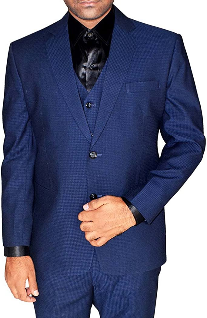 INMONARCH Mens Navy Blue 4 Pc Tuxedo Suit Notch Lapel TX1047