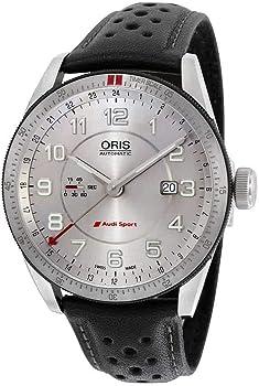 Oris Artix Audi Sport GMT Silver Dial Black Leather Men's Automatic Watch