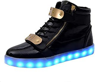BY0NE Kids LED Light up Shoes USB Charging Flashing High-Top Sneakers for Boys and Girls Child Unisex