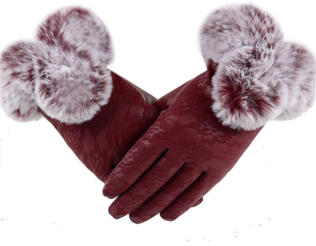 ZSBAYU Thermal Gloves, Women's Fleece Winter Warm Gloves Screen-Touching Design Gloves Faux Fur Trim, Great Christmas Gifts