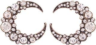 Liloee Bohemian Openwork Diamond Pearl Semicircular Moon Earrings Ladies Jewelry