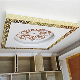 ITTA XXX-Large 24pcs x 38 x10cm Mirror Border Stickers 3D Acrylic DIY Wall Decorative Self-adhesive Hollow out Border Skirting Ceiling Stickers Wall Mural Wedding Room Home Decor (gold)