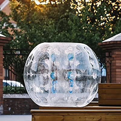 Happybuy Inflatable Bumper Ball 1.2M/4ft 1.5M/5ft Diameter Bubble Soccer Ball Blow Up Toy in 5 Min Inflatable Bumper Bubble Balls for Adults or Child (5 FT, Transparent)